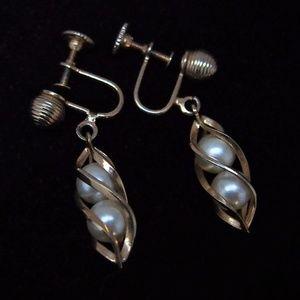 Dainty Gold-Tone Swirl Encased Pearl Earrings
